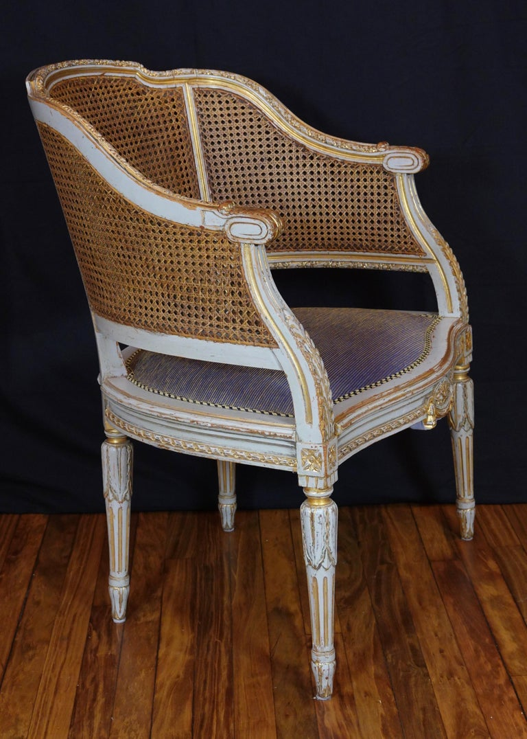 French Louis XVI Style Desk Chair with Caned Back and Upholstered Seat In Good Condition For Sale In Charleston, SC