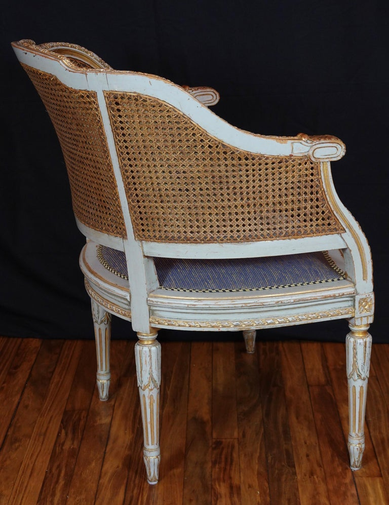 20th Century French Louis XVI Style Desk Chair with Caned Back and Upholstered Seat For Sale