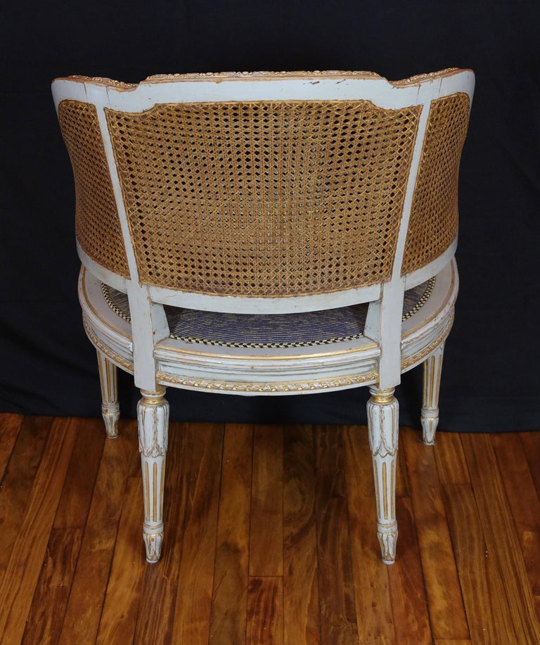 Wood French Louis XVI Style Desk Chair with Caned Back and Upholstered Seat For Sale