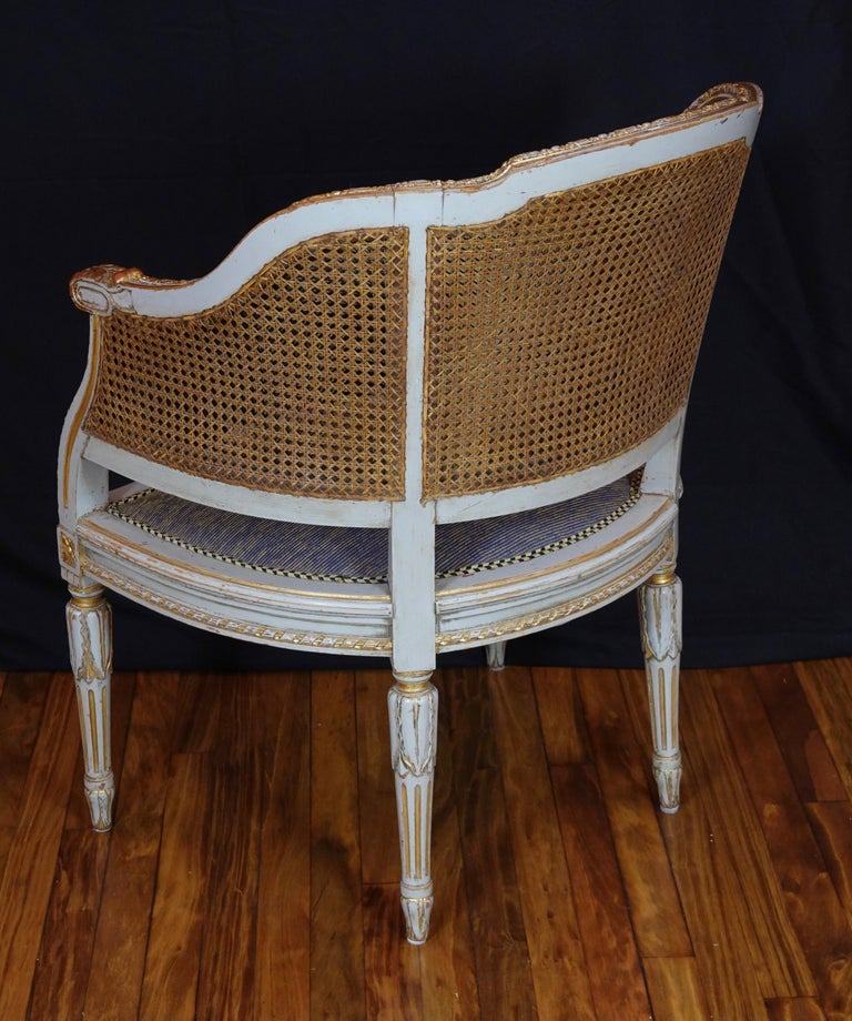 French Louis XVI Style Desk Chair with Caned Back and Upholstered Seat For Sale 1