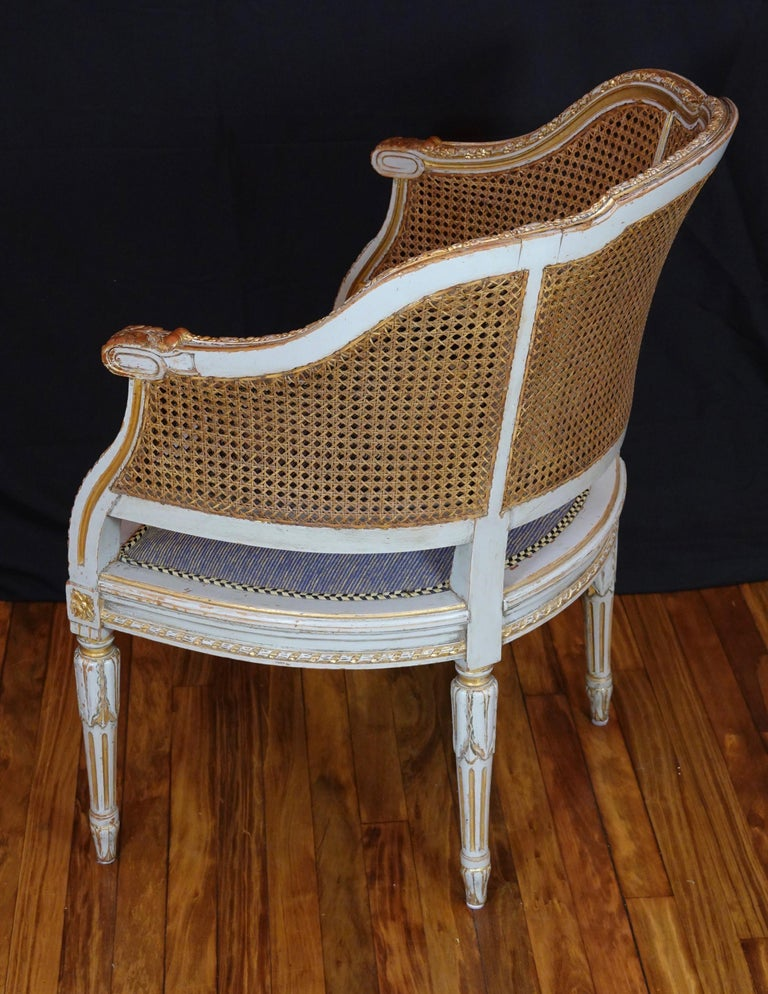 French Louis XVI Style Desk Chair with Caned Back and Upholstered Seat For Sale 2