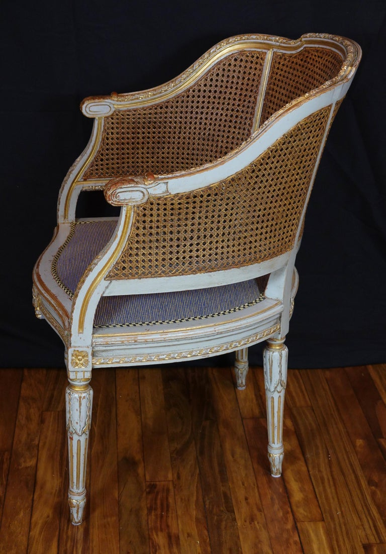 French Louis XVI Style Desk Chair with Caned Back and Upholstered Seat For Sale 3