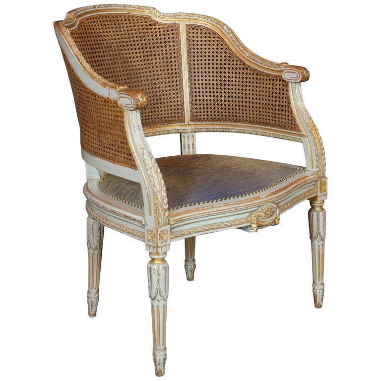 French Louis XVI Style Desk Chair with Caned Back and Upholstered Seat For Sale