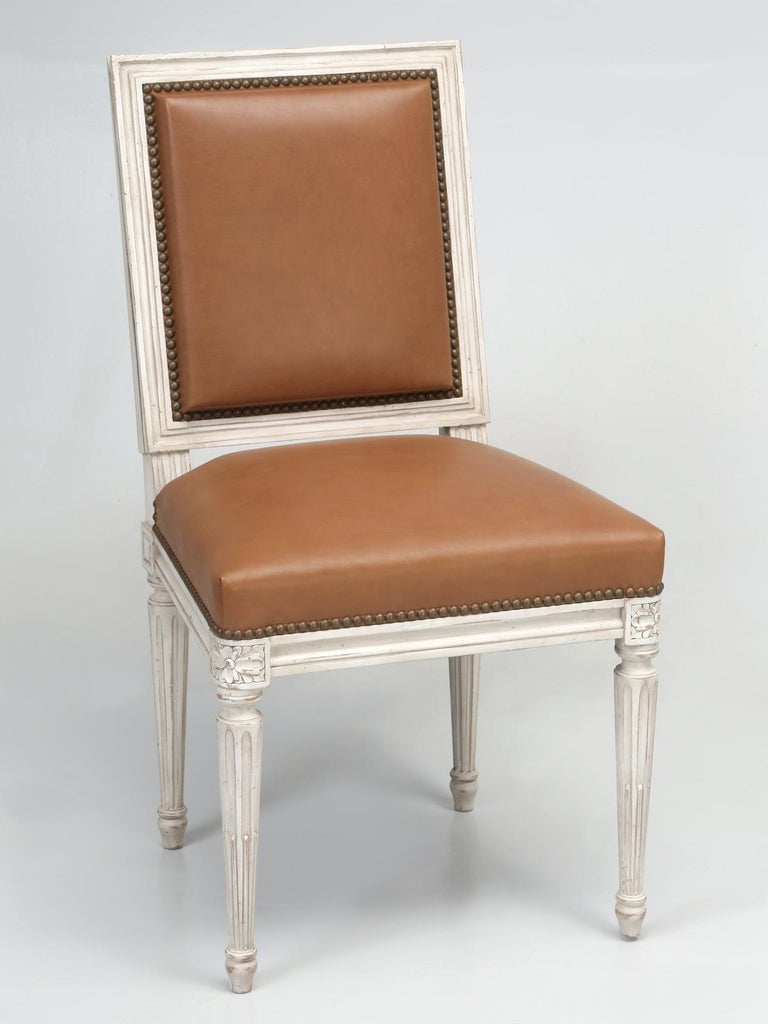 French Louis XVI Style Dining Chairs Handmade in France to Our Specifications For Sale 9