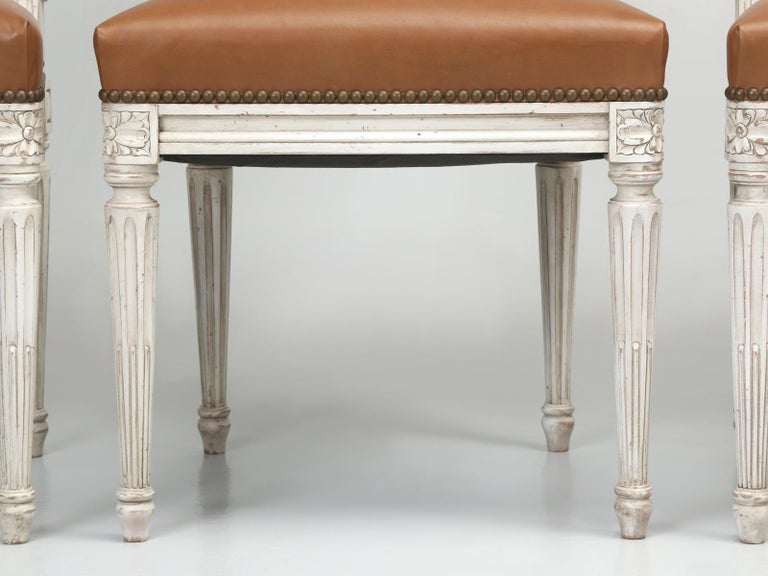 French Louis XVI Style Dining Chairs Handmade in France to Our Specifications For Sale 2