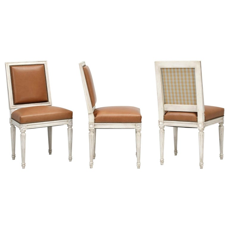 French Louis XVI Style Dining Chairs Handmade in France to Our Specifications For Sale