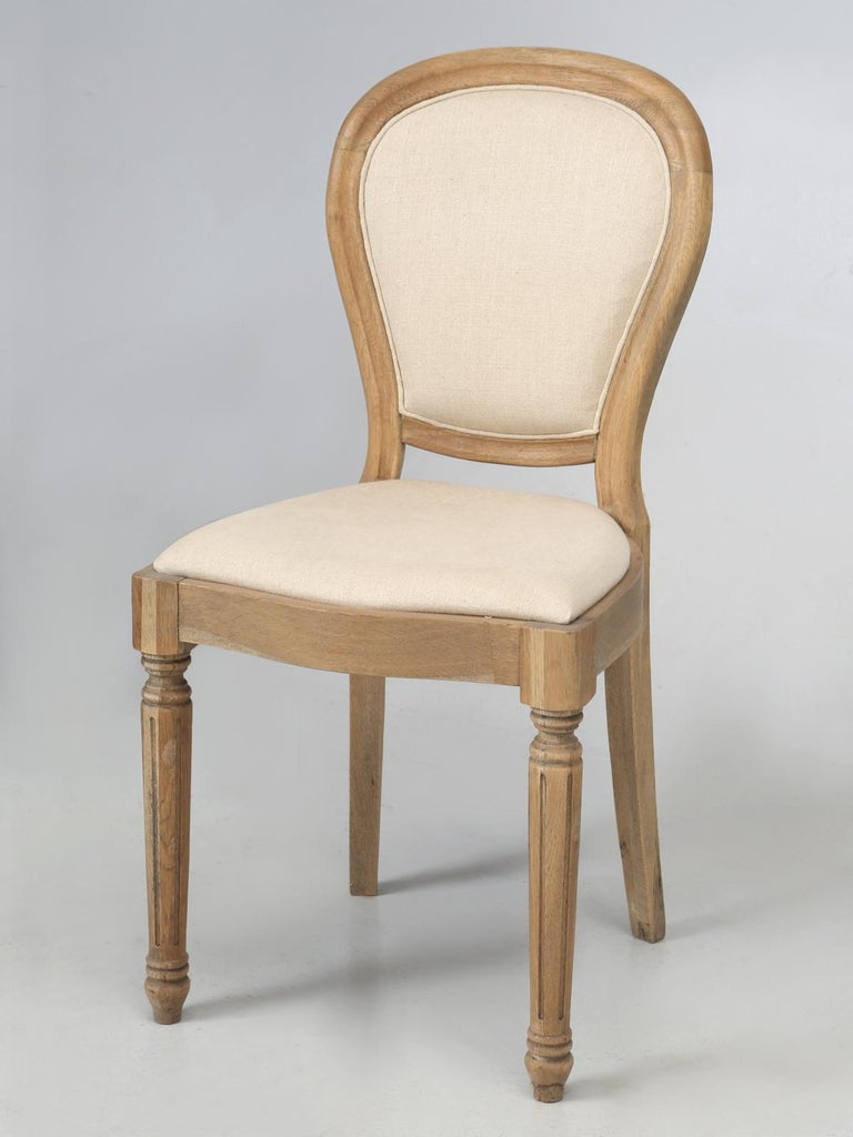French Louis XVI Style Dining Chairs in White Oak, Set of 8 For Sale 8