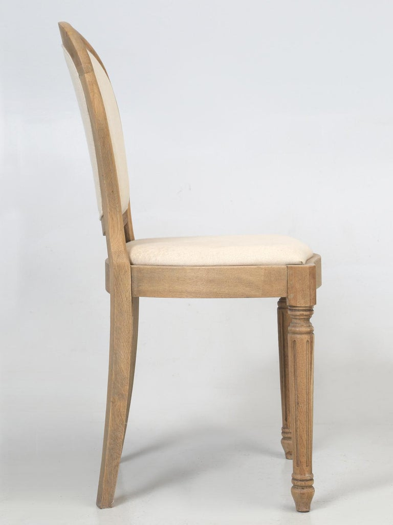 French Louis XVI Style Dining Chairs in White Oak, Set of 8 For Sale 9