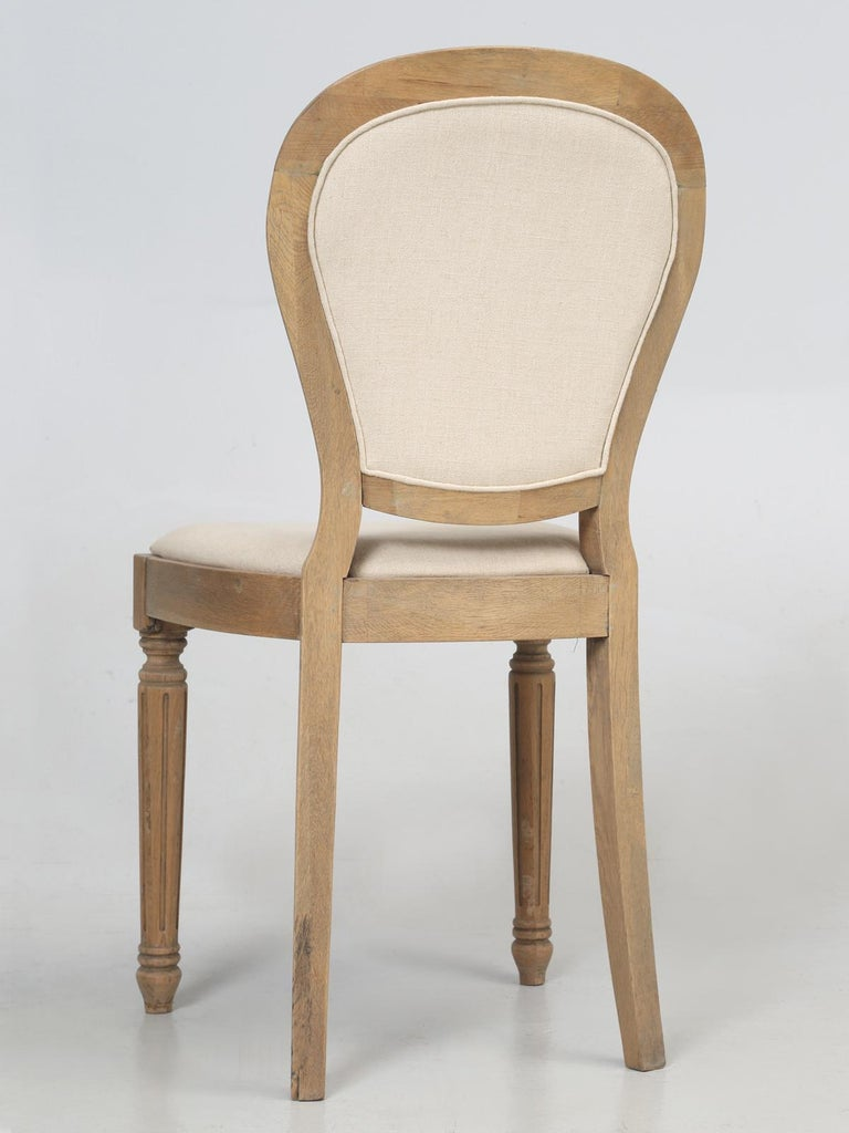 French Louis XVI Style Dining Chairs in White Oak, Set of 8 For Sale 10