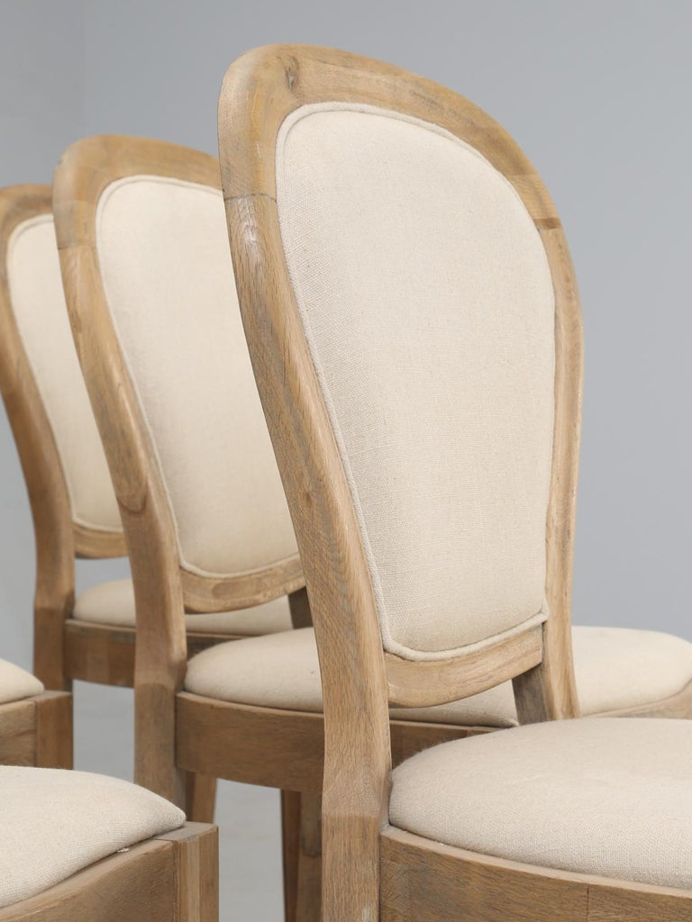 Asian French Louis XVI Style Dining Chairs in White Oak, Set of 8 For Sale
