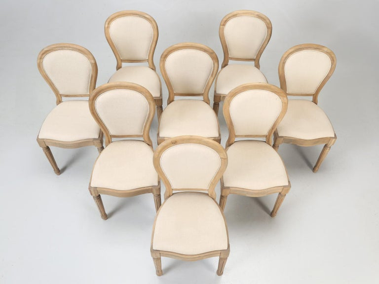 Contemporary French Louis XVI Style Dining Chairs in White Oak, Set of 8 For Sale