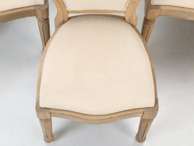 French Louis XVI Style Dining Chairs in White Oak, Set of 8 For Sale 1