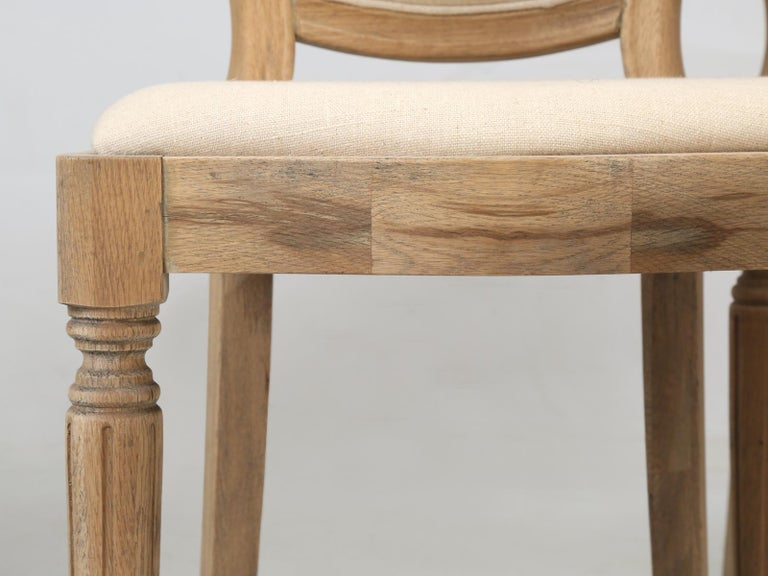 French Louis XVI Style Dining Chairs in White Oak, Set of 8 For Sale 3