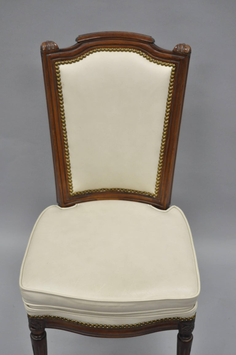 French Louis XVI Style Dining Chairs with Leather Upholstery Set of Eight For Sale 5