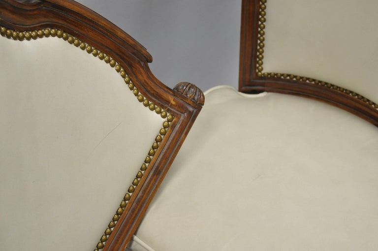 French Louis XVI Style Dining Chairs with Leather Upholstery Set of Eight For Sale 6