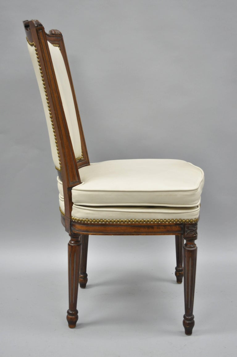 French Louis XVI Style Dining Chairs with Leather Upholstery Set of Eight For Sale 7