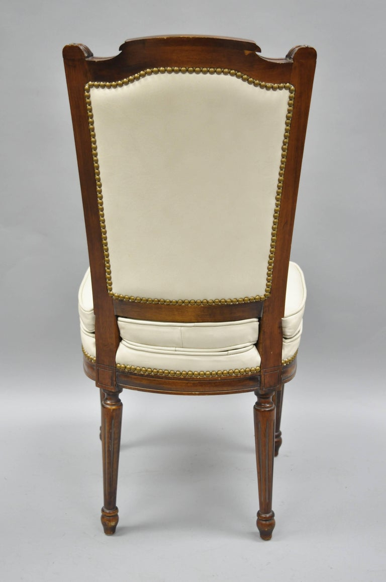 French Louis XVI Style Dining Chairs with Leather Upholstery Set of Eight For Sale 8