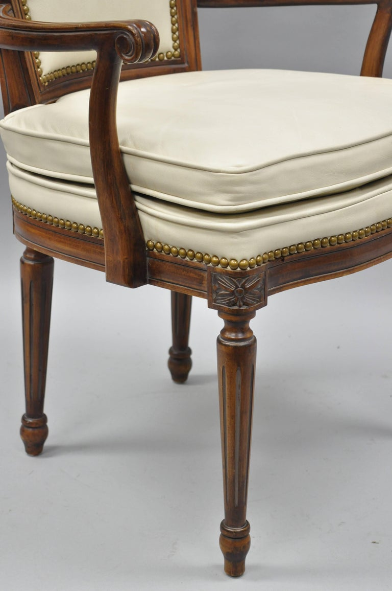 French Louis XVI Style Dining Chairs with Leather Upholstery Set of Eight For Sale 9