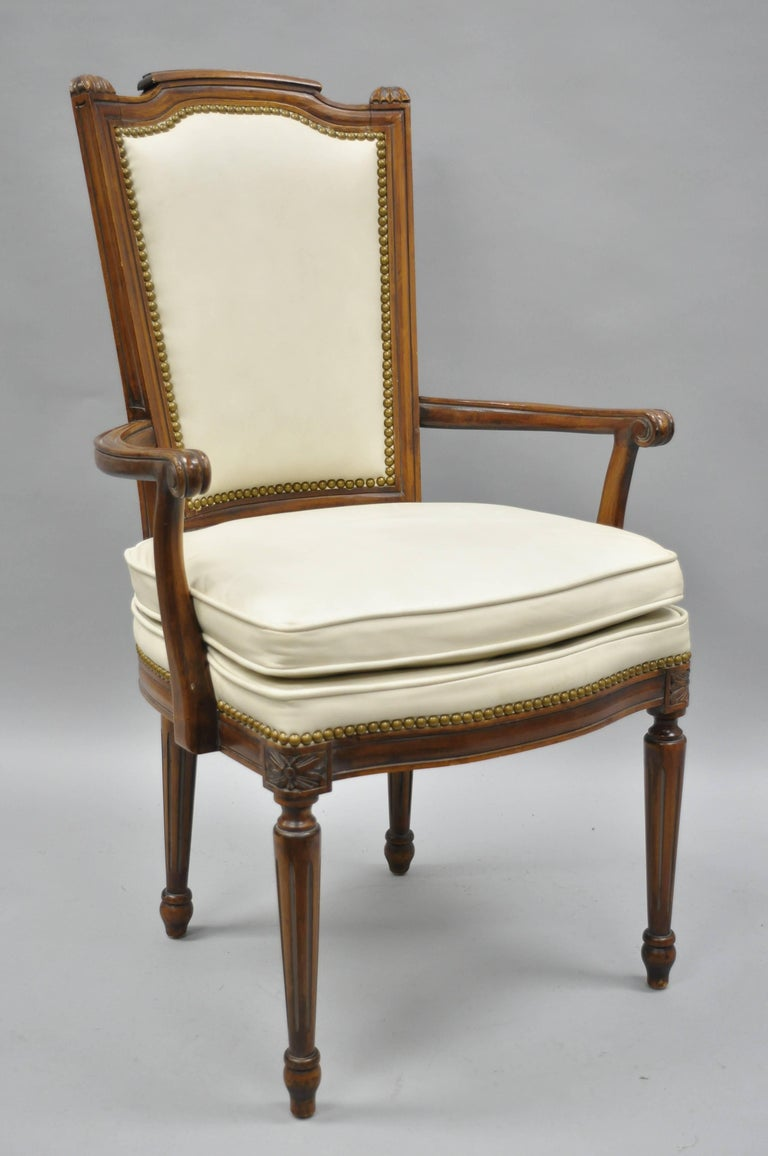 French Louis XVI Style Dining Chairs with Leather Upholstery Set of Eight For Sale 10