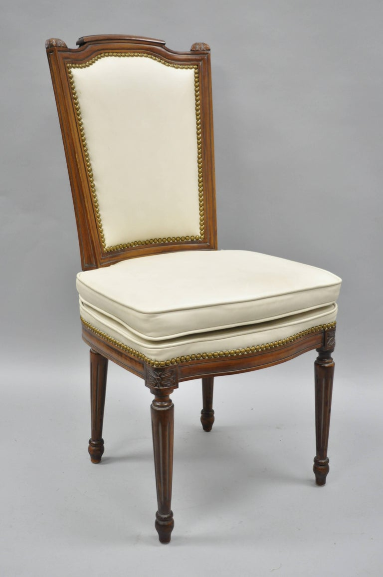 French Louis XVI Style Dining Chairs with Leather Upholstery Set of Eight In Good Condition For Sale In Philadelphia, PA