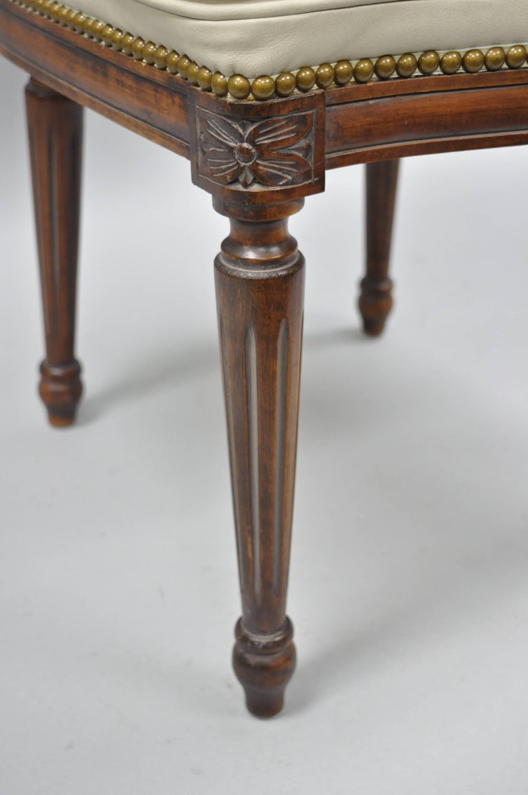 20th Century French Louis XVI Style Dining Chairs with Leather Upholstery Set of Eight For Sale