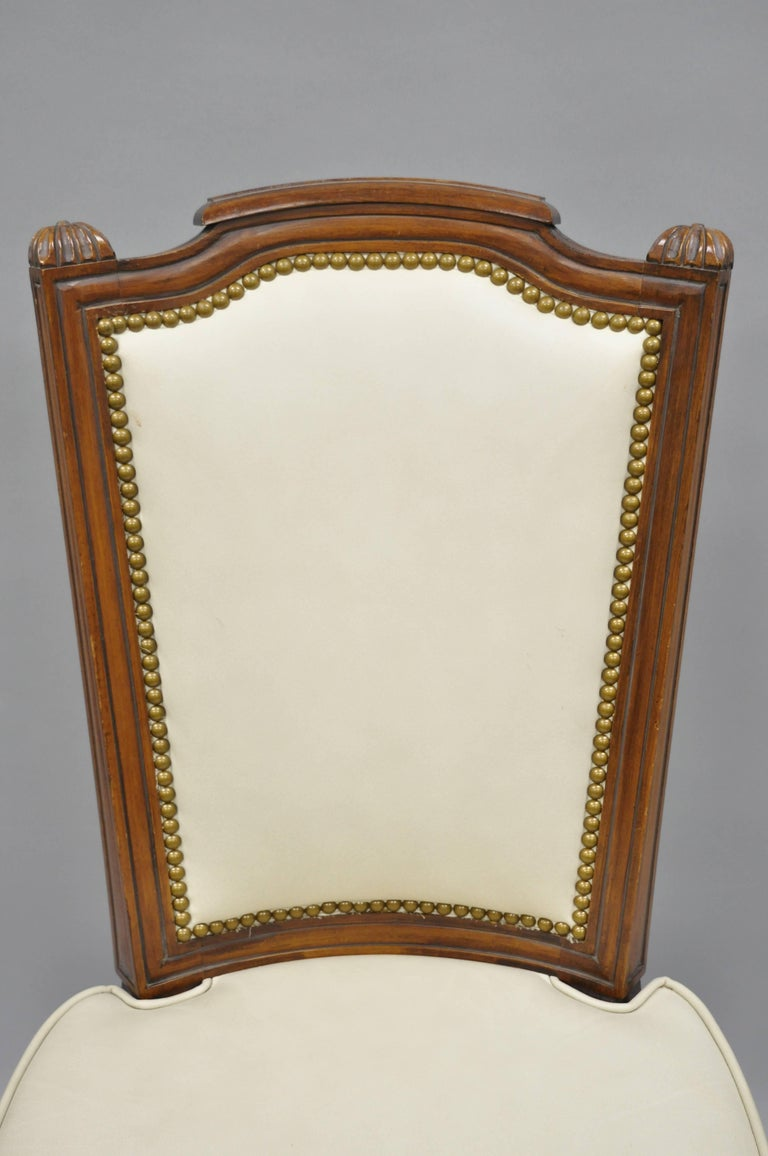 French Louis XVI Style Dining Chairs with Leather Upholstery Set of Eight For Sale 1