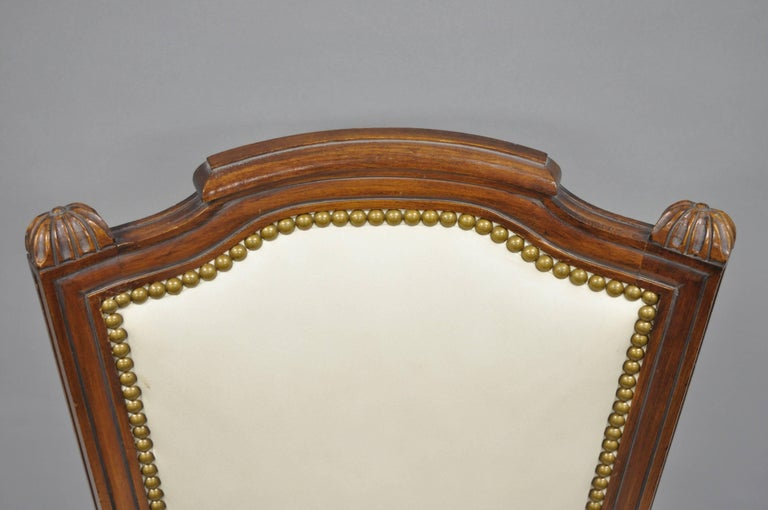 French Louis XVI Style Dining Chairs with Leather Upholstery Set of Eight For Sale 2