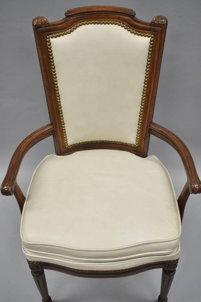 French Louis XVI Style Dining Chairs with Leather Upholstery Set of Eight For Sale 3
