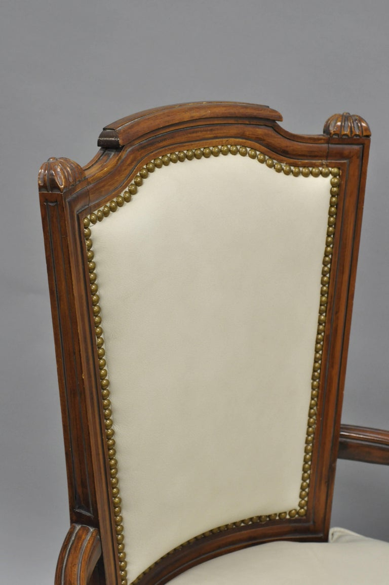 French Louis XVI Style Dining Chairs with Leather Upholstery Set of Eight For Sale 4