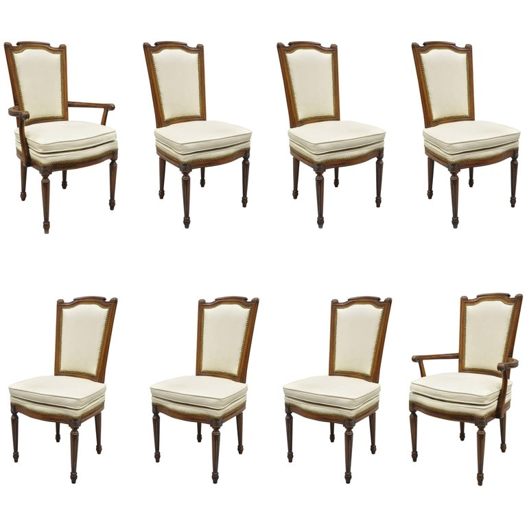French Louis XVI Style Dining Chairs with Leather Upholstery Set of Eight For Sale