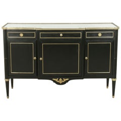French Louis XVI Style Ebonized Buffet or Sideboard with White Marble Top