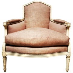 French Louis XVI Style Exceptionally Wide Bergère with a Painted Finish