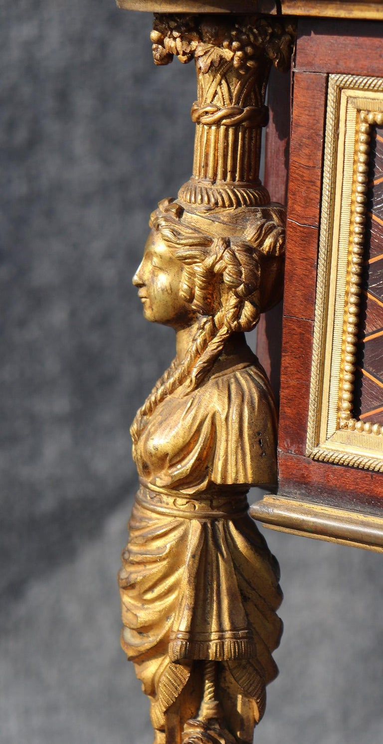 French Louis XVI Style Figural Dore Bronze Marquetry Cylinder Desk For Sale 7