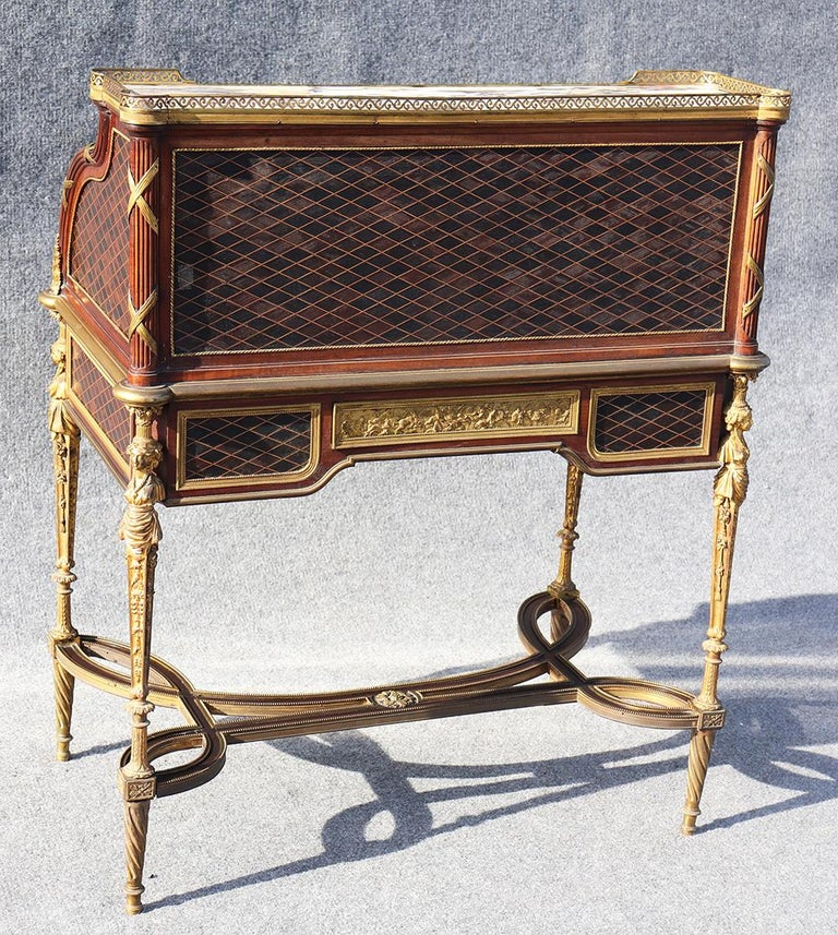 French Louis XVI Style Figural Dore Bronze Marquetry Cylinder Desk For Sale 8