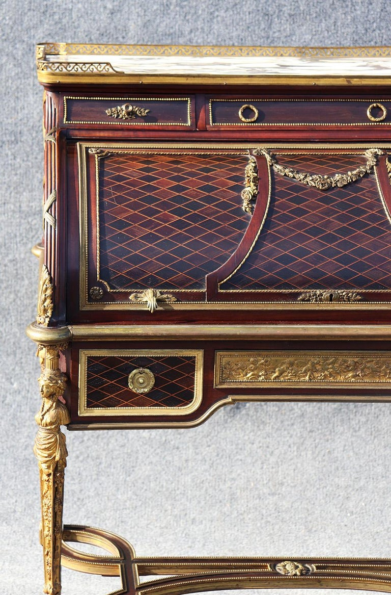 French Louis XVI Style Figural Dore Bronze Marquetry Cylinder Desk In Good Condition For Sale In Swedesboro, NJ