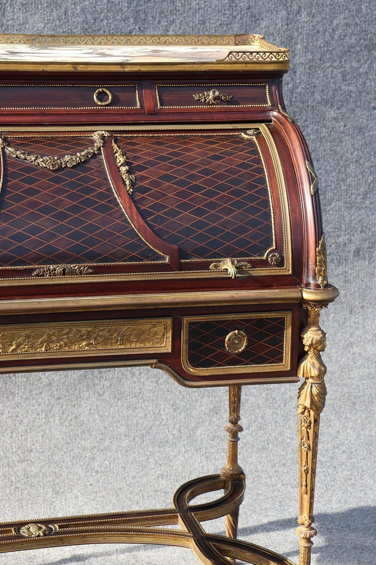 Late 19th Century French Louis XVI Style Figural Dore Bronze Marquetry Cylinder Desk For Sale