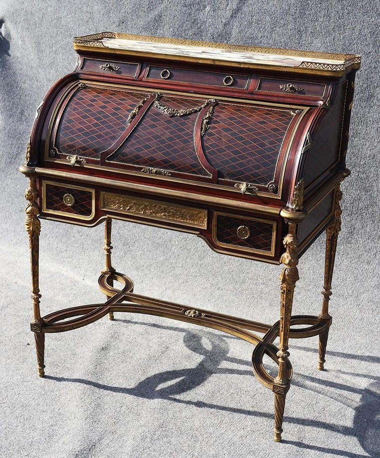 French Louis XVI Style Figural Dore Bronze Marquetry Cylinder Desk For Sale 2