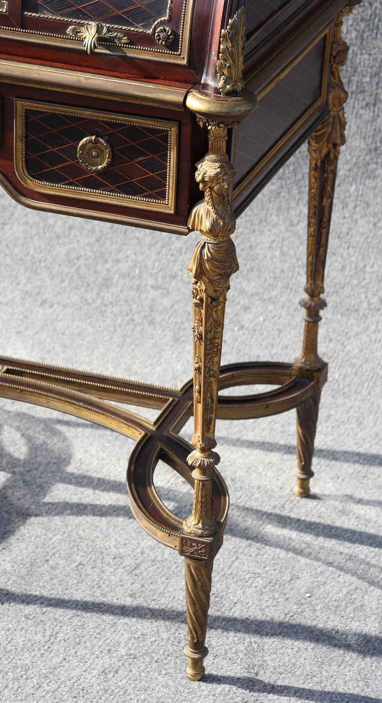 French Louis XVI Style Figural Dore Bronze Marquetry Cylinder Desk For Sale 3