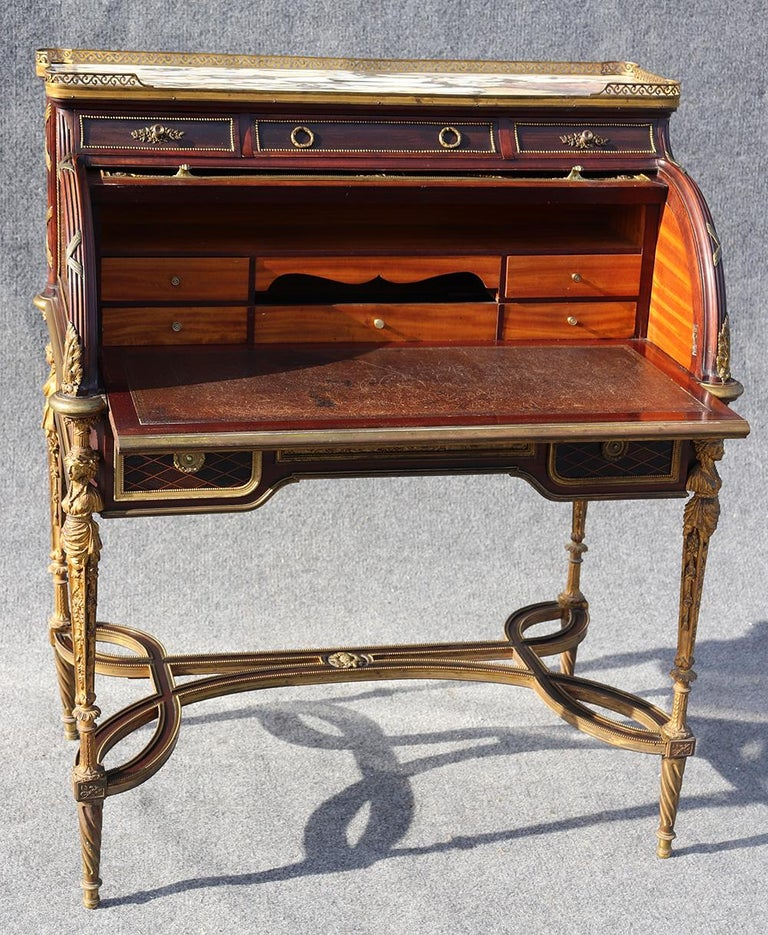 French Louis XVI Style Figural Dore Bronze Marquetry Cylinder Desk For Sale 4