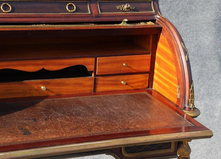 French Louis XVI Style Figural Dore Bronze Marquetry Cylinder Desk For Sale 5