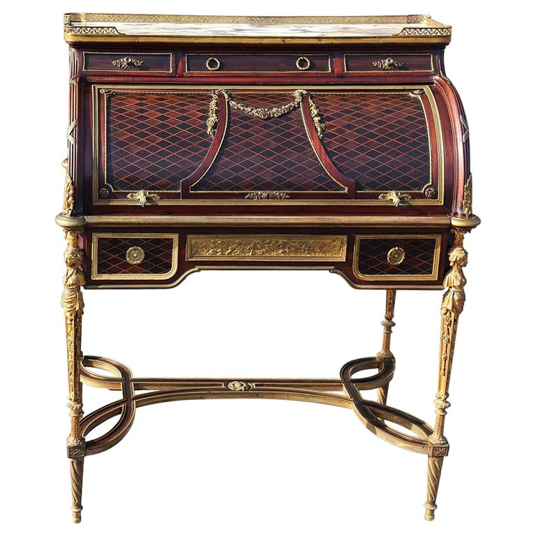 French Louis XVI Style Figural Dore Bronze Marquetry Cylinder Desk For Sale