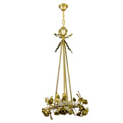 French Louis XVI Style Four-Light Bronze Roses Chandelier