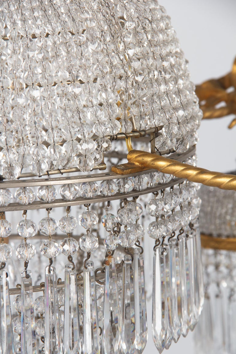 French Louis XVI Style Gilded Bronze and Crystal 5-Light Chandelier, 1900s For Sale 14