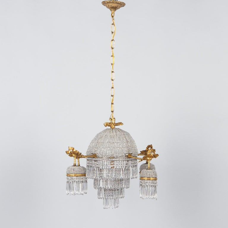 Gilt French Louis XVI Style Gilded Bronze and Crystal 5-Light Chandelier, 1900s For Sale