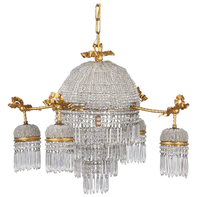 French Louis XVI Style Gilded Bronze and Crystal 5-Light Chandelier, 1900s For Sale