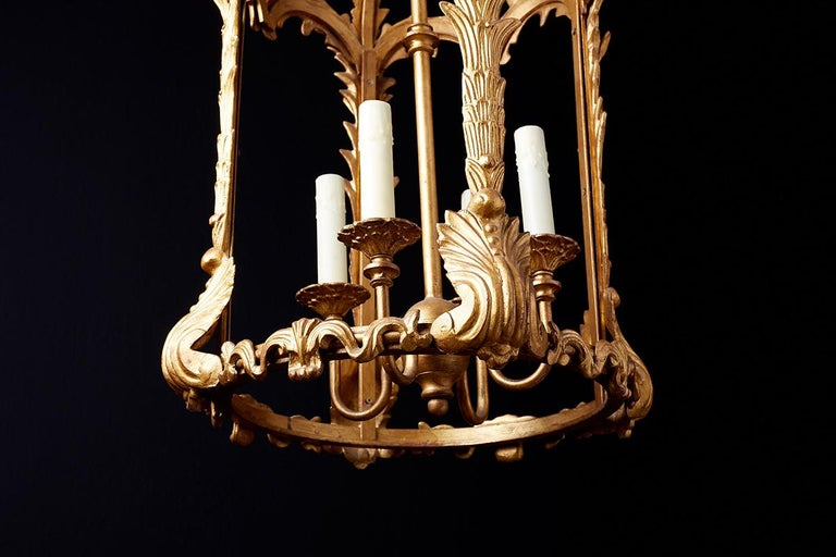 French Louis XVI Style Gilded Iron Pendant Lantern For Sale 8