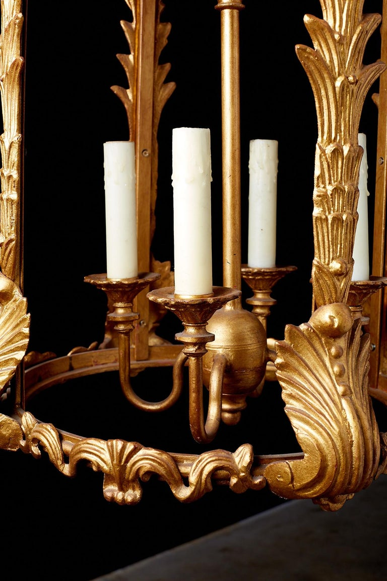 Gilt French Louis XVI Style Gilded Iron Pendant Lantern For Sale