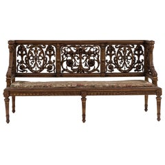French Louis XVI Style Gilt and Filigree Carved Back Settee