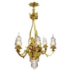 French Louis XVI Style Gilt-Bronze & Blown Cut-Glass 7-Light Figural Chandelier