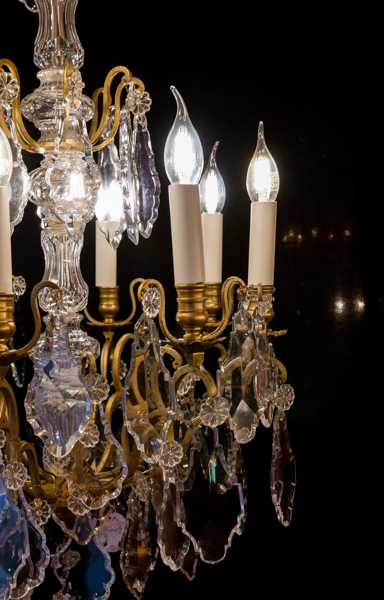 French Louis XVI Style Gilt-Bronze and Crystal Chandelier, circa 1890-1910 For Sale 8